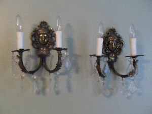 2 antique solid Brass Wall Scones