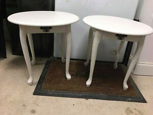 Two White Refinished Side Tables