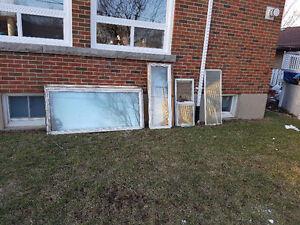 Large Vintage Wooden Slide Windows and Vinyl window