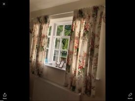 Sanderson curtains and matching bed throw