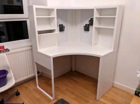 IKEA white corner desk workstation - whiteboard - excellent condition