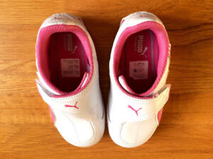 * Puma Kinder-Fit White-Pink Leather Running Shoes-Size 7UK, 8US