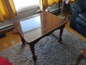 Heavy Sturdy Brown Wooden Side Table