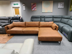 Ex display Right Hand Facing Chaise End Corner Sofa,Texas Tan Leather