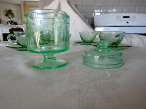 Cornflower Pattern Green Glass Set London Ontario image 6