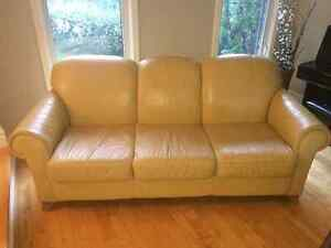 3-seat yellow  leather couch sofa