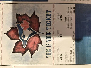Blue jays tickets premium dug out 100L great view (120L)