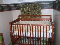 Various baby items, crib, toys, carseat, bouncer