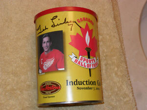 CSHOF Hockey Wings Signed Lindsay Ind. Coffee Can + Bobblehead