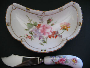 VINTAGE ROYAL CROWN DERBY MINI DISH WITH KNIFE