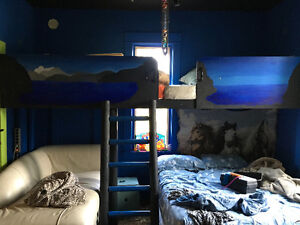 Cool custom made fort bed ladder mattresses painting on sides