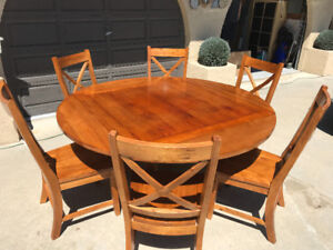 Solid Wood Table (square/round) + 6 chairs