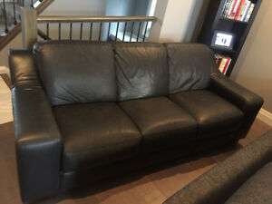 Black Genuine Leather Couch - Great condition!