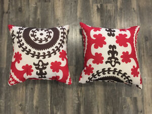 2 Red and Brown Outdoor Pillows