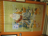 LARGE HAND PAINTED MULTICOLOUR BAMBOO BEAD DOOR / WINDOW HANGING