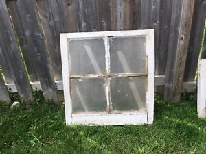 ANTIQUE 4 PANEL WINDOW FRAME WITH GLASS INTACT