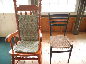 Antique chairs and pine rocker