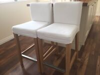 IKEA Pair Bar Chairs Stools Off White Removable Washable Covers