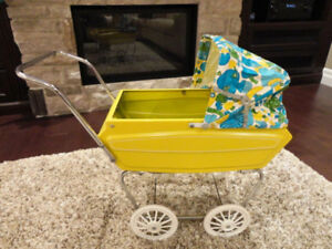 Vintage Cute Yellow Steel Doll Stroller Carriage -In Great Shape