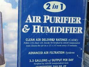 2-in-1 air-purifier/humidifier (with 2 sets of spare filters)