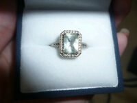 14kt white gold 1.74ct emerald cut natural sapphire diamond ring