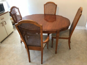 1980's Solid Wood Dining Table and Chairs