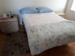 BEDROOM SET, 2 DRESSERS AND 2 END TABLES PLUS MIRROR