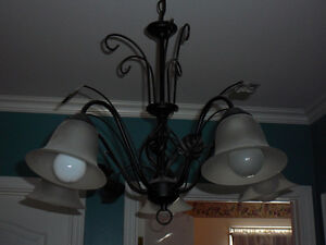BLACK WROUGHT IRON CHANDELIER LUSTRE NOIR FER FORGé