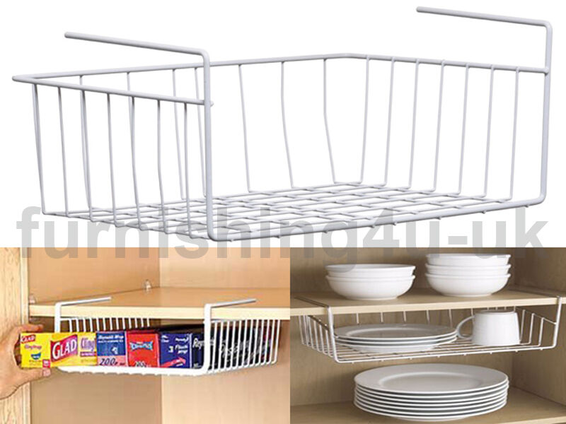under cabinet basket new white kitchen shelf storage basket rack holder 27459