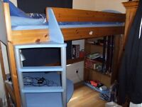 Cabin Bed with Desk and Shelves