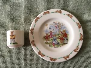 BUNNY KINS CHILD'S EGG CUP AND PLATE
