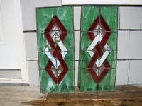 LARGE 2 Stained Glass Window Wall Hangings Suncatchers Green