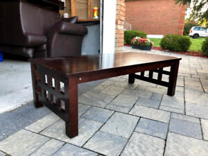 Wood Coffee Table Set- Main table and 2 side-arm tables