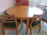 Solid wood dining set with six chairs