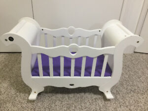 Corolle white wood doll crib, Graco doll Stroller