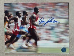 Ben Johnson Autographed 10 x 8 Photo 1988 Olympic Final