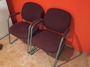 2 Burgundy Sled Chairs, Delivery Available