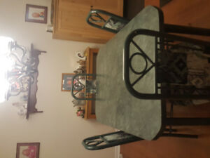Solid steel dining room set with 6 chairs