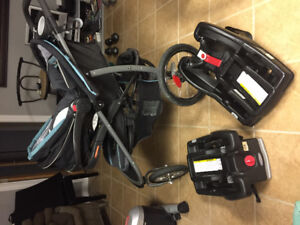 Graco Jogging Stroller with Car Seat and 2 bases Great Condition