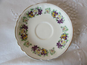 Vintage Sovereign Potters Earthenware Pansy Saucer