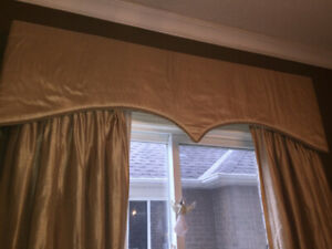 Italian silk curtains for sale and valance box