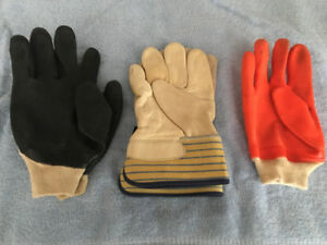Work gloves ,  leather and vinyl and cotton