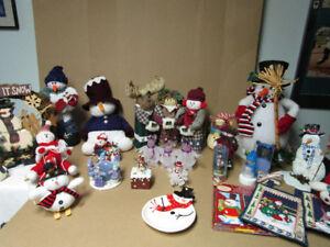 Snowmen Lot, Wreath, Stuffed, Home Decor items Dish Christmas