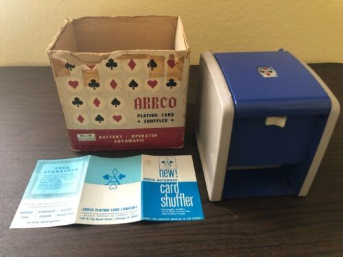 *RARE Color, TESTED * Arrco Playing Card Shuffler Vintage With Box