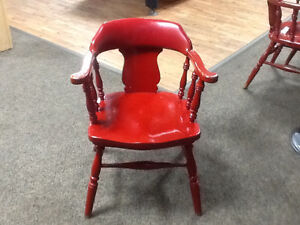 Solid Oak Red pub chair