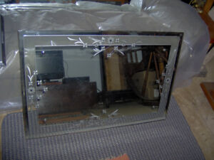 Antique Hobbs Etched Plate Glass Mirror