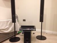DVD player with 4 floor standing surround sound speakers but not all the cables.