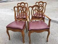 4 wooden burgundy dining chairs