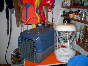 small pet carrier and bird cage