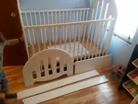 Beautiful White Crib PLUS Toddler Bed Head/Footboard and Rails